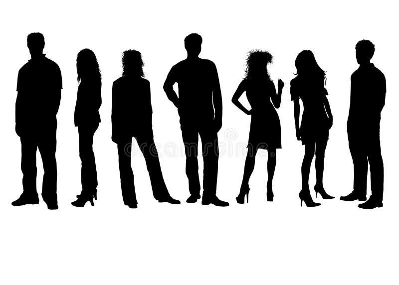 7 silhouettes vektor illustrationer