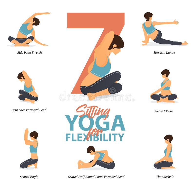 Free 7 Sitting Yoga Poses For Easy Yoga At Home In Concept Of Flexibility In Flat Design. Royalty Free Stock Photography - 180212957