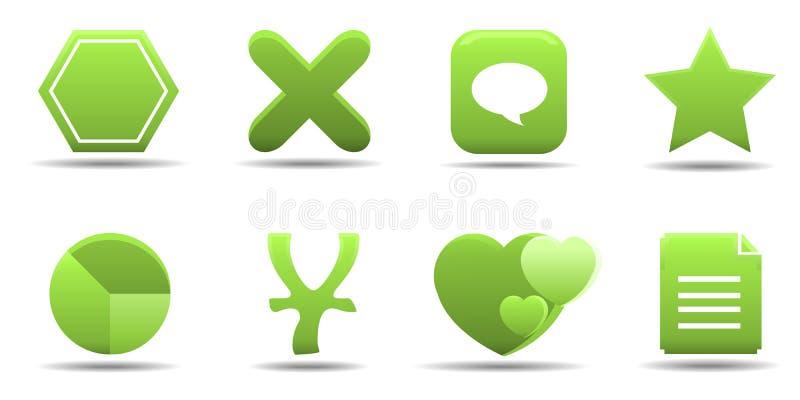 7 trawy ikony serii ustalają sieci ilustracji