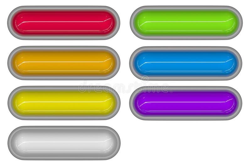 7 tubi lucidi 3d nei colori differenti illustrazione di stock