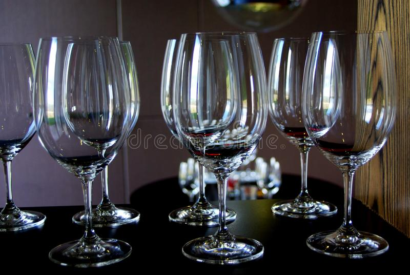 7 Wine Glasses royalty free stock photography