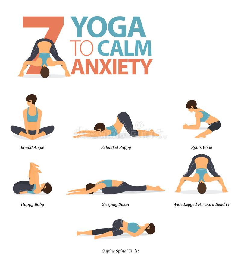 Free 7 Yoga Poses To Calm Anxiety Concept. Women Exercising For Body Stretching. Yoga Posture Or Asana For Fitness Infographic. Vector Stock Photos - 195776023