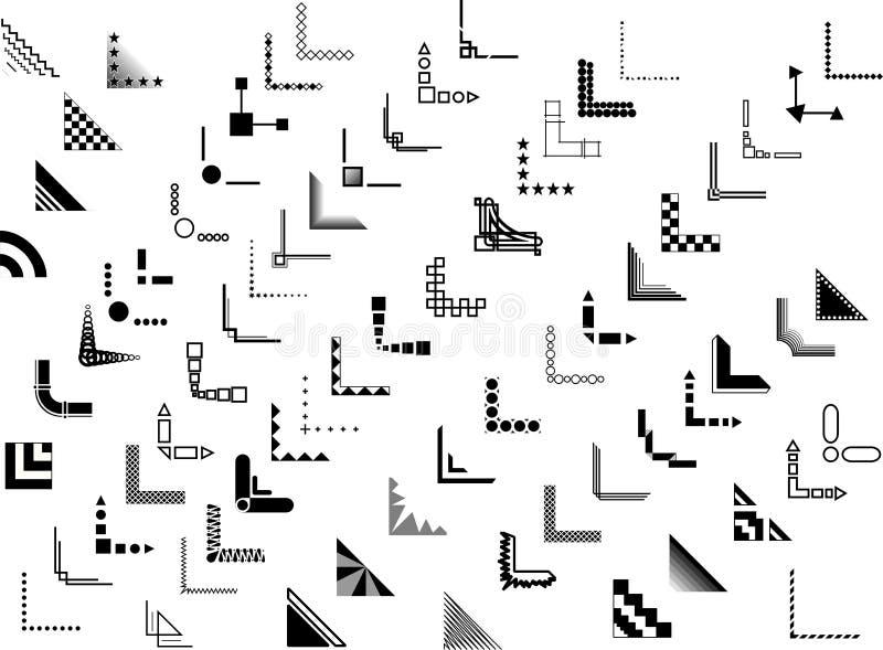 70个边界壁角设计向量 图库摄影