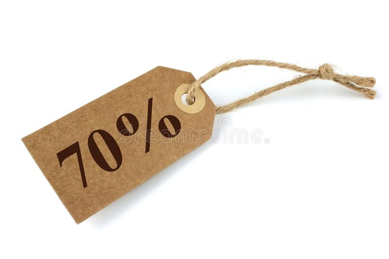 70% Sale label. With natural paper and string stock images