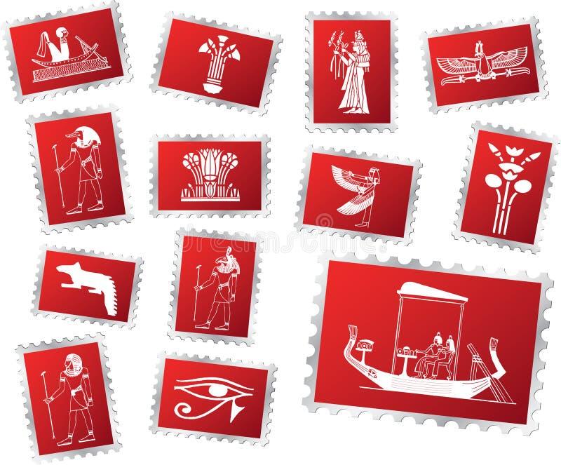 70 zestawy Egiptu znaczków royalty ilustracja