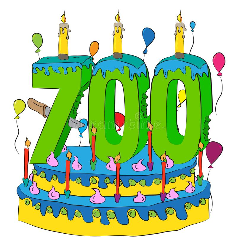 Free 700 Birthday Cake With Number Seven Hundred Candle, Celebrating Seven Hundredth Year Of Life, Colorful Balloons And Chocolate Coat Royalty Free Stock Photography - 104940457