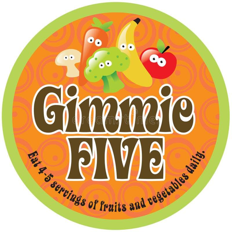 70s Background Five Gimmie Label Promo Sticker Στοκ Φωτογραφία