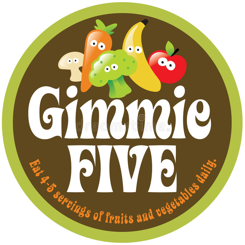 70s Gimmie Five Promo Sticker/Label stock illustration