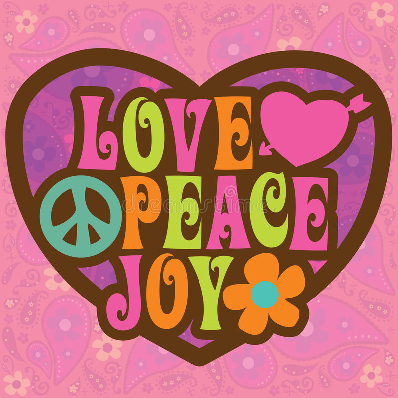 70s illustration joy love peace ελεύθερη απεικόνιση δικαιώματος