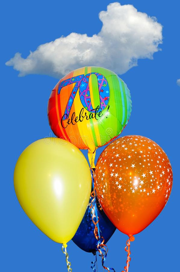 70th Birthday balloons. royalty free stock photography