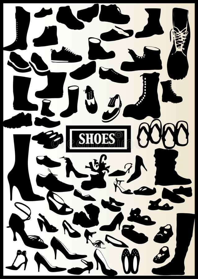 71 CHAUSSURES NOIRES illustration stock