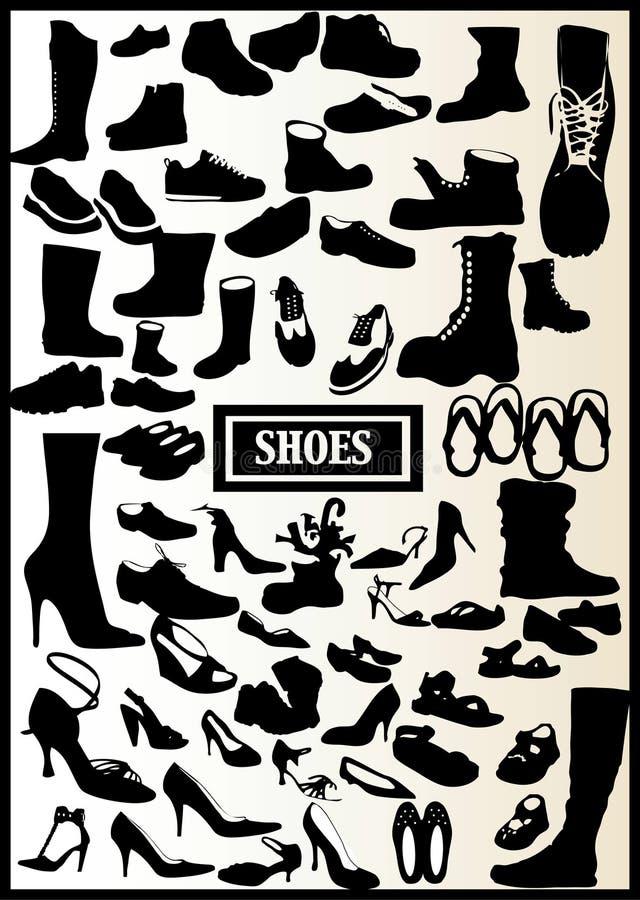 71 svarta skor stock illustrationer