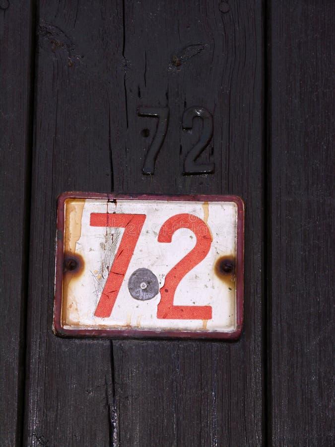 72 Numery Fotografia Stock