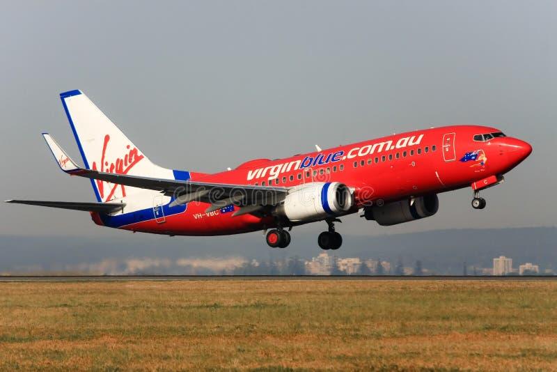 737 błękit Boeing z zabranie dziewicy fotografia royalty free