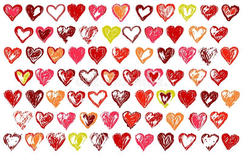 74 corações esboçado ilustração royalty free