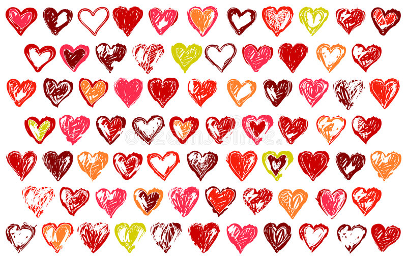 74 sketchy hearts royalty free illustration