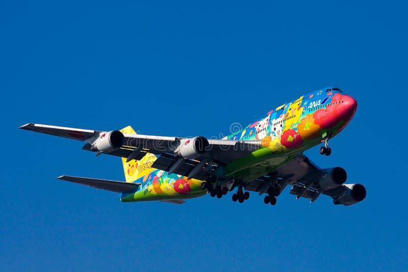 747 flygplats ana boeing haneda royaltyfri foto
