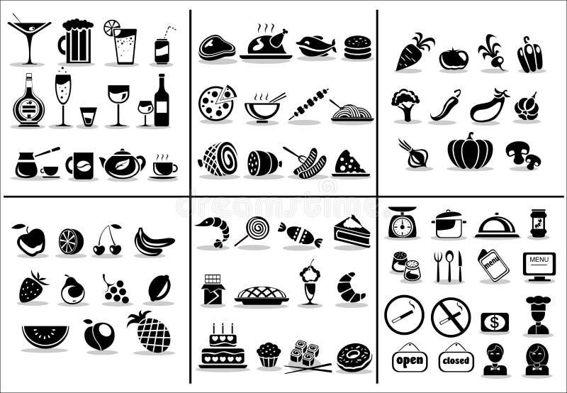 77 ícones do alimento e da bebida ajustados ilustração stock