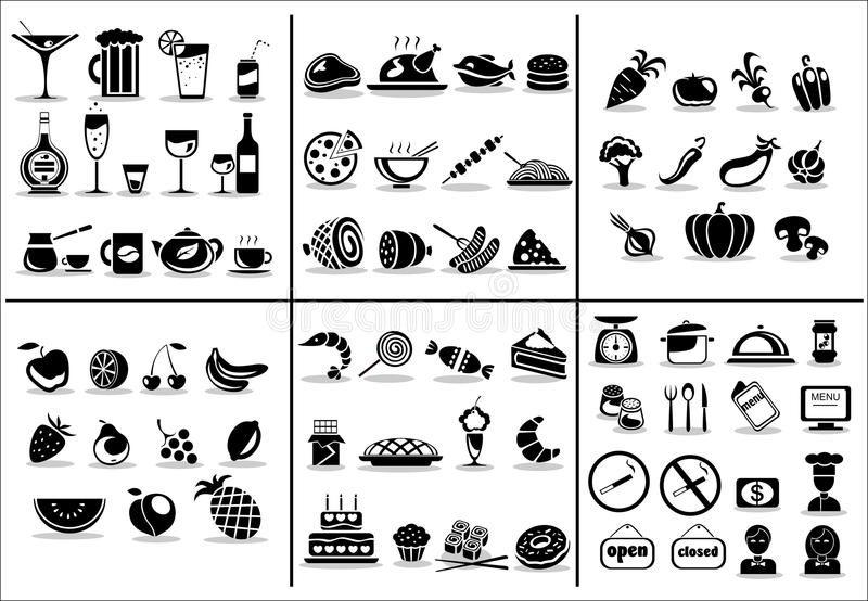 77 food and drink icons set stock illustration