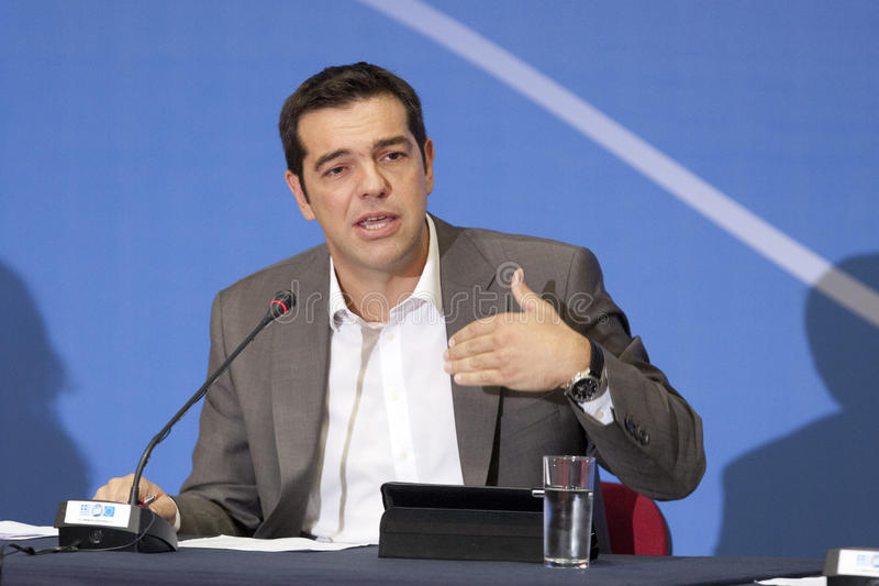 77 tif Alexis Tsipras. THESSALONIKI, GREECE - SEPT 16: Syriza leader Alexis Tsipras press conference of 77th Thessaloniki International Fair in the northern port stock photo