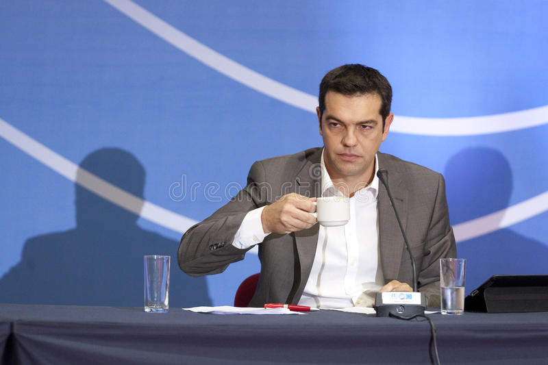 77 tif Alexis Tsipras. THESSALONIKI, GREECE - SEPT 16: Syriza leader Alexis Tsipras press conference of 77th Thessaloniki International Fair in the northern port stock images