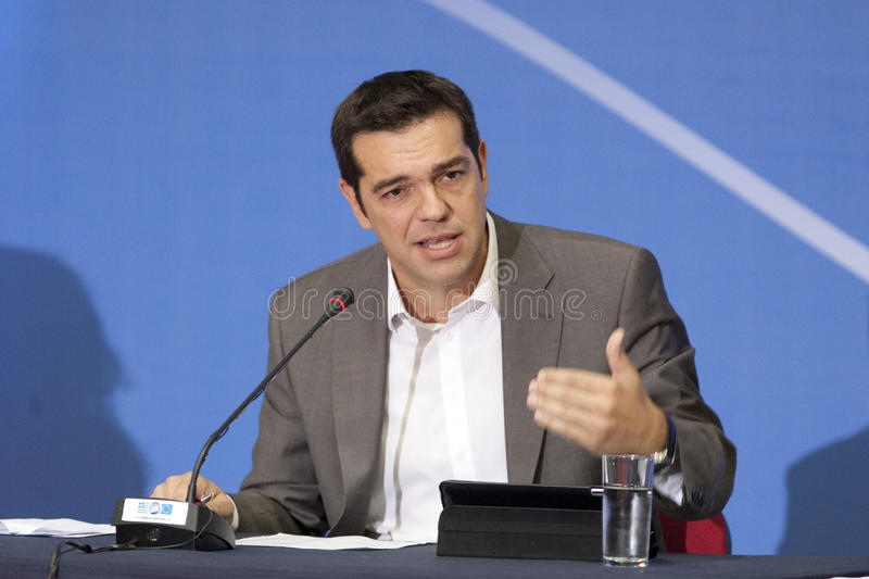 77 tif Alexis Tsipras. THESSALONIKI, GREECE - SEPT 16: Syriza leader Alexis Tsipras press conference of 77th Thessaloniki International Fair in the northern port stock photography