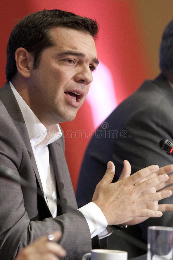 77 tif Alexis Tsipras. THESSALONIKI, GREECE - SEPT 16: Syriza leader Alexis Tsipras press conference of 77th Thessaloniki International Fair in the northern port royalty free stock photos