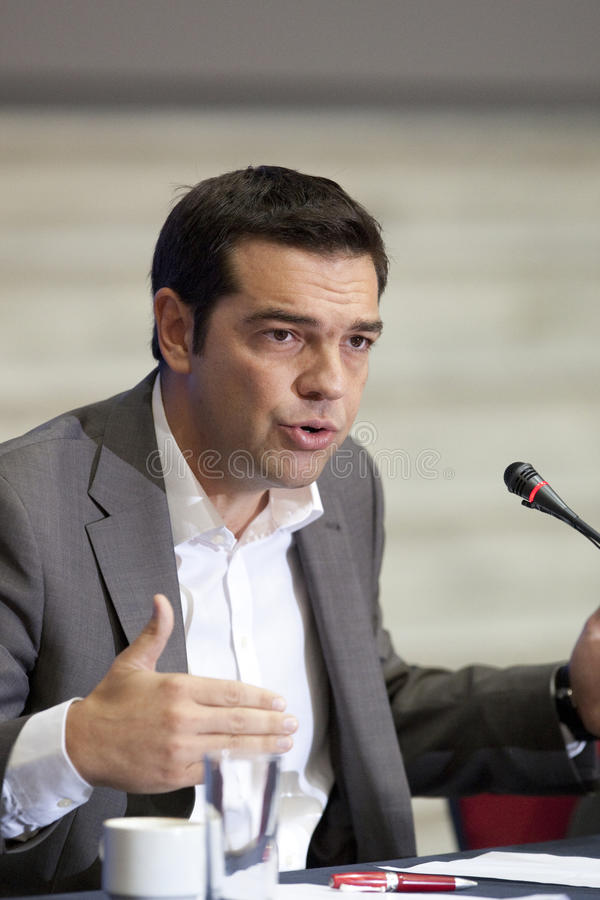 77 tif Alexis Tsipras. THESSALONIKI, GREECE - SEPT 16: Syriza leader Alexis Tsipras press conference of 77th Thessaloniki International Fair in the northern port royalty free stock images