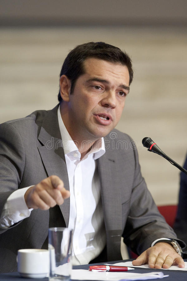 77 tif Alexis Tsipras. THESSALONIKI, GREECE - SEPT 16: Syriza leader Alexis Tsipras press conference of 77th Thessaloniki International Fair in the northern port royalty free stock photo