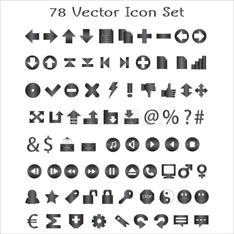 Free 78 Vector Icon Set Royalty Free Stock Photography - 23677217