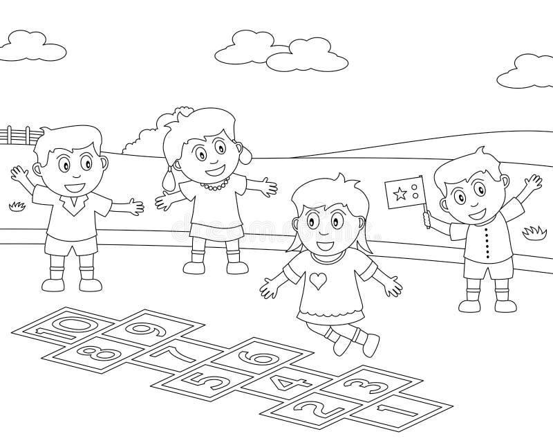 8个上色孩子体育运动 向量例证