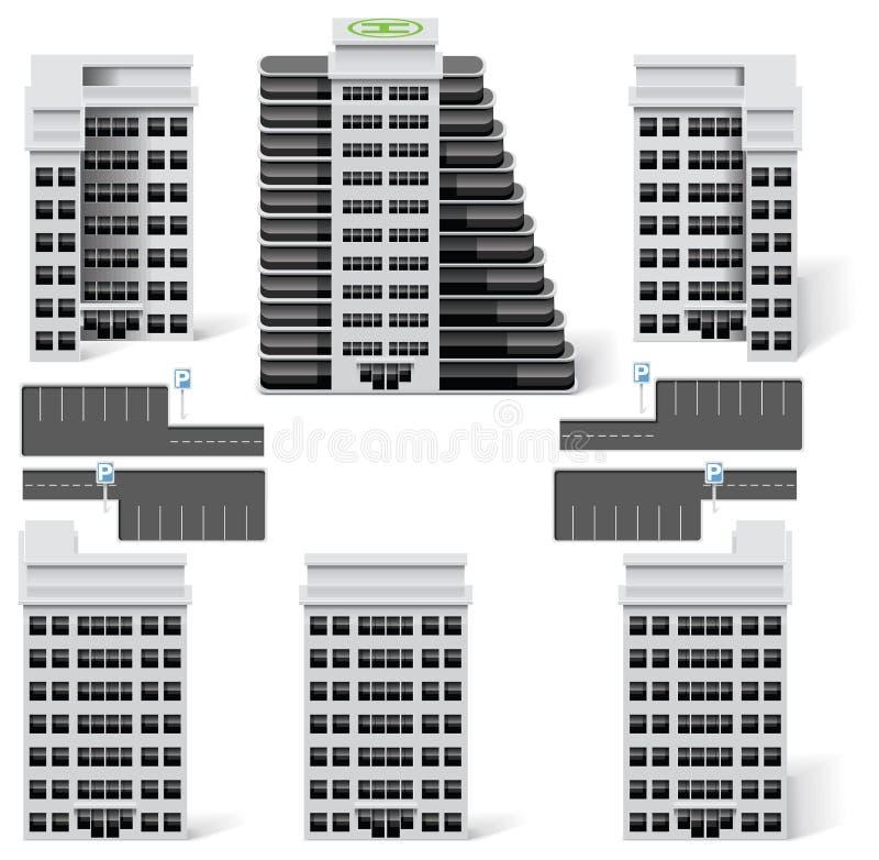 8个大厦城市创建diy工具箱映射零件 向量例证