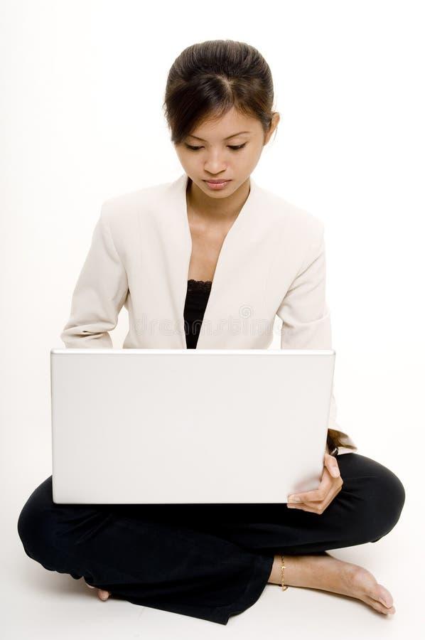8个女孩膝上型计算机 免版税库存图片