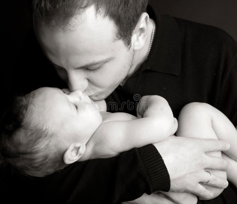8个婴孩美好的爸爸照片 免版税库存照片