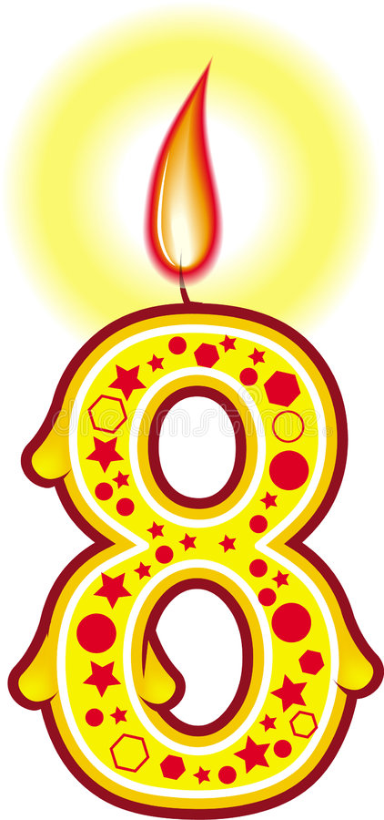 8个生日蜡烛 向量例证