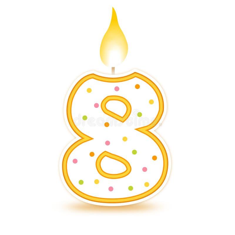 8个生日蜡烛 库存例证