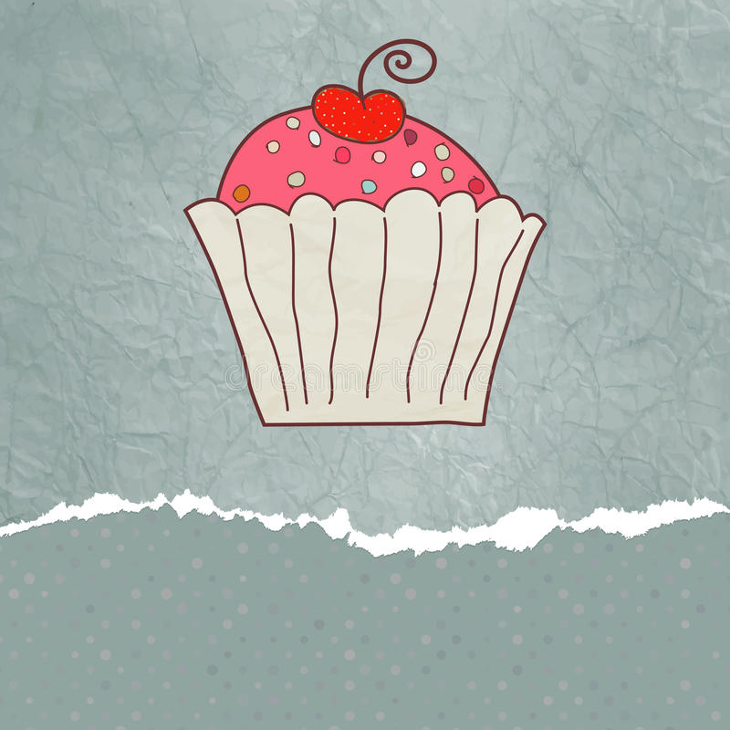 8个看板卡杯形蛋糕eps减速火箭的华伦泰 皇族释放例证