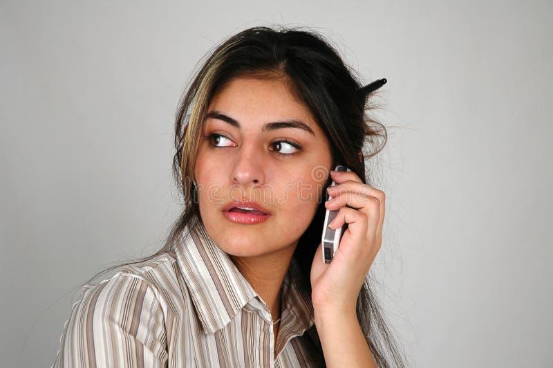 8名女实业家移动电话 库存照片