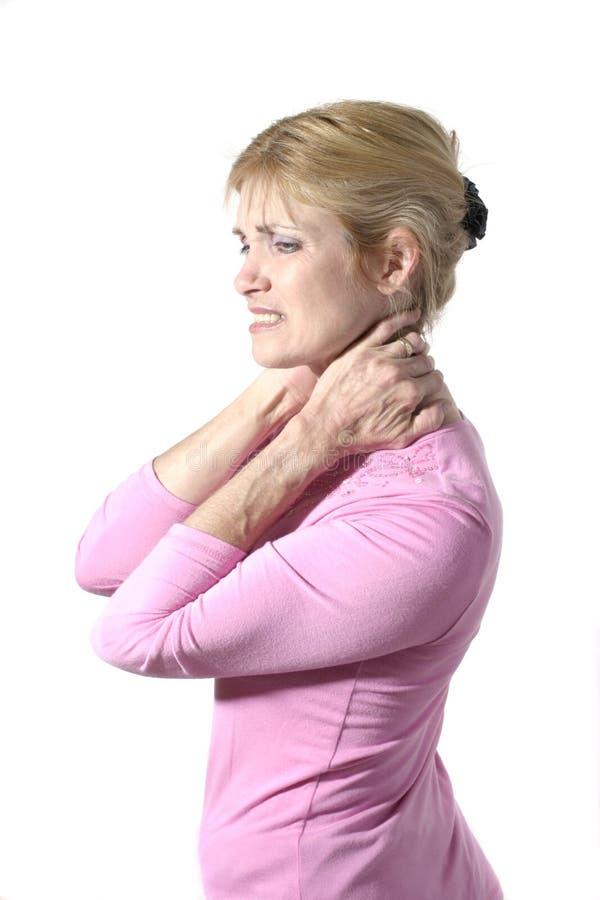 8脖子痛严重妇女 库存图片