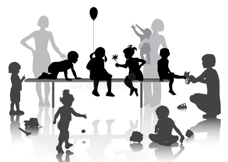 8 παιδιά που παίζουν μερικά ελεύθερη απεικόνιση δικαιώματος