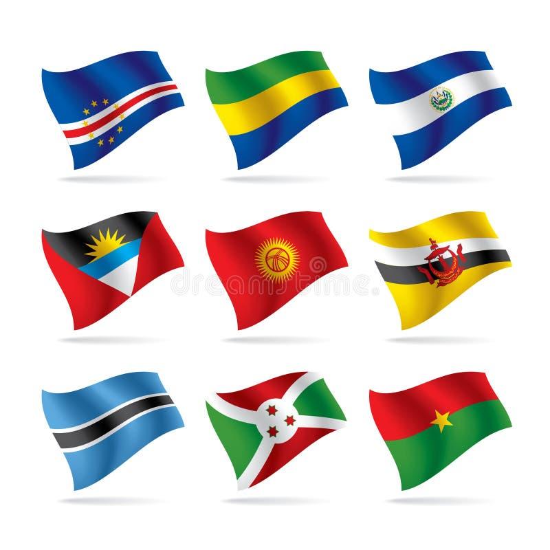 8 флагов установили мир иллюстрация вектора