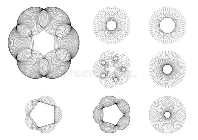 8 чертежей установили spirograph иллюстрация вектора