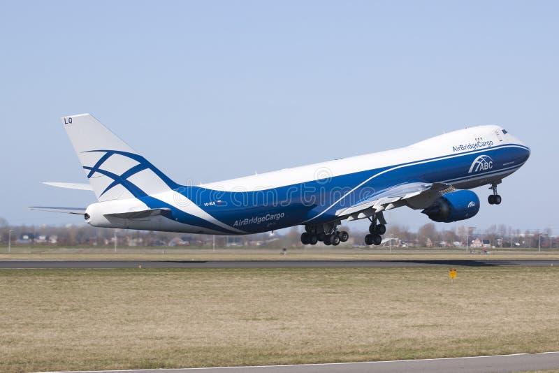 8 747 airbridgecargo Boeing start obraz stock