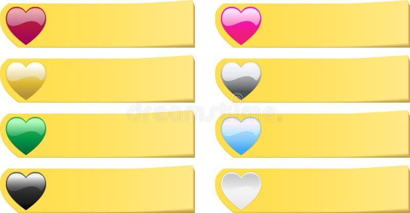 8 barwiących serc notatek poczta ustalonych majcherów ilustracji