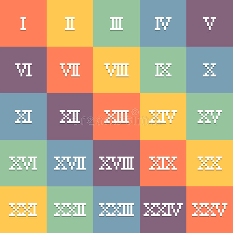 Free 8-Bit Pixel Art Roman Numerals 1-25. EPS10 Vector Royalty Free Stock Image - 56285986