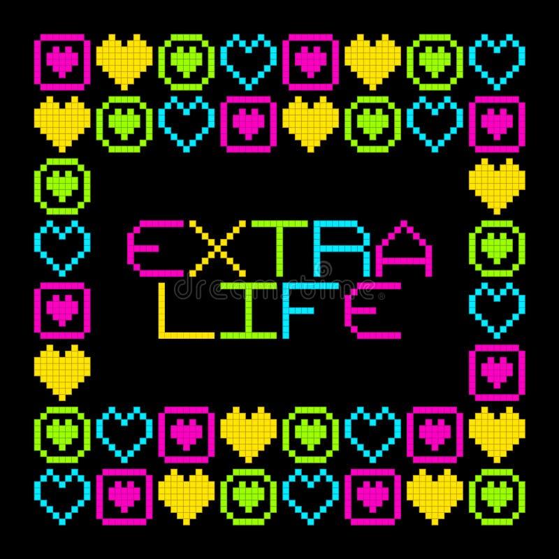 Free 8-Bit Pixel Retro Extra Life Message. EPS8 Vector Stock Images - 63624264
