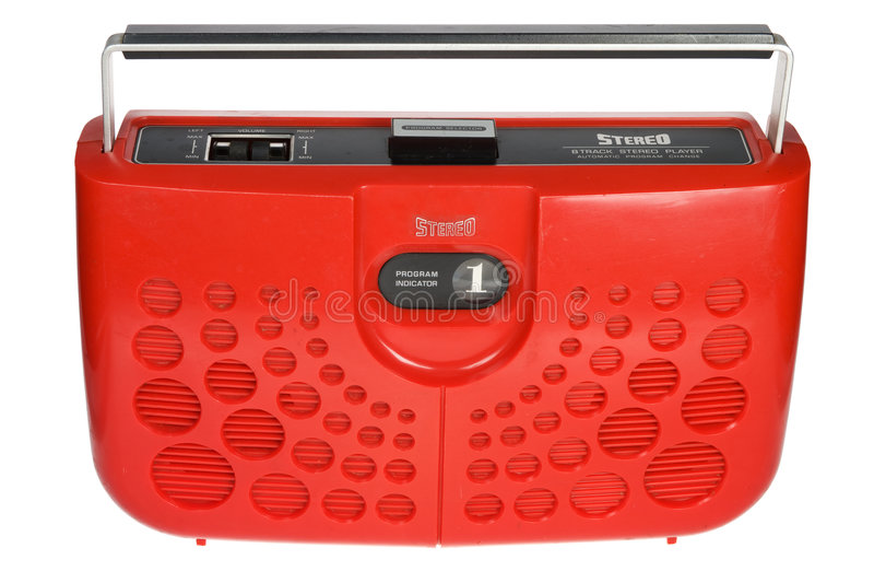 8 boombox红色减速火箭的跟踪 免版税库存图片