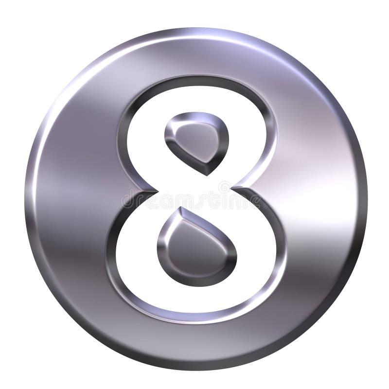 8 być obramowane liczby srebra ilustracja wektor