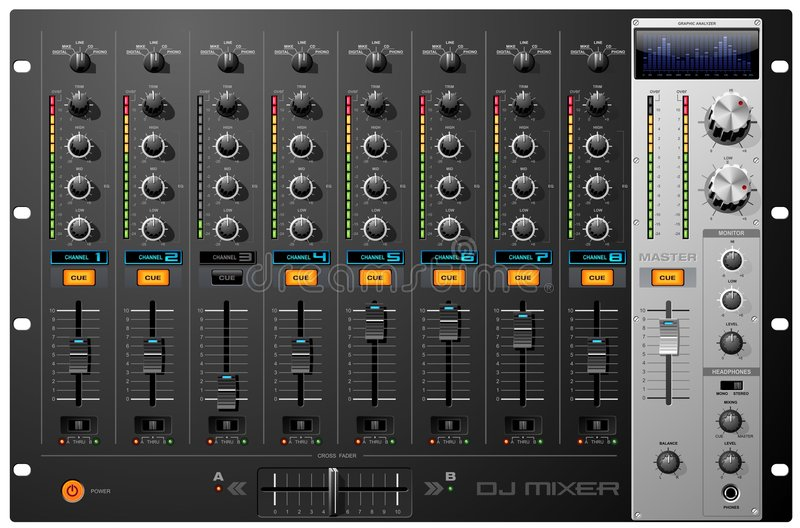 8 Channel Mixer Stock Photo