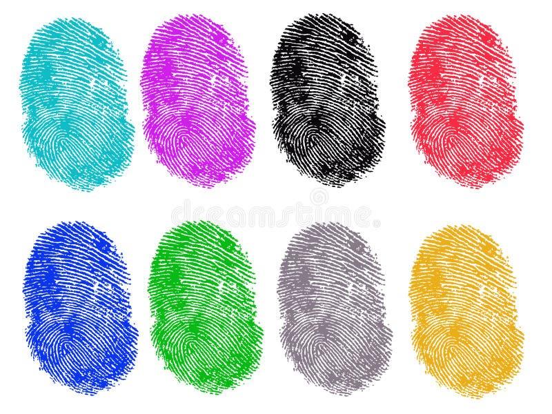 8 Colored Fingerprints stock illustration